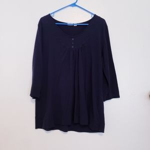 Cato navy blue 3/4 sleeve flowy t-shirt